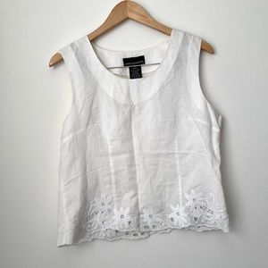 Linen Cotton White Lace Tank Top